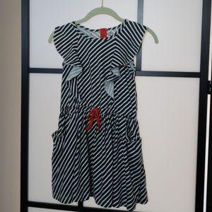🌈Girls striped flutter sleeve dress